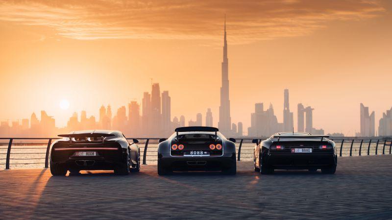 Bugatti EB110 Super Sport, Bugatti Veyron, Bugatti Chiron, Dubai, Cityscape, 5K, Wallpaper