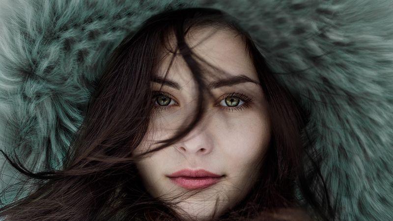 Woman, Portrait, Closeup, Fair, Beautiful, Cold, Winter, 5K, Wallpaper