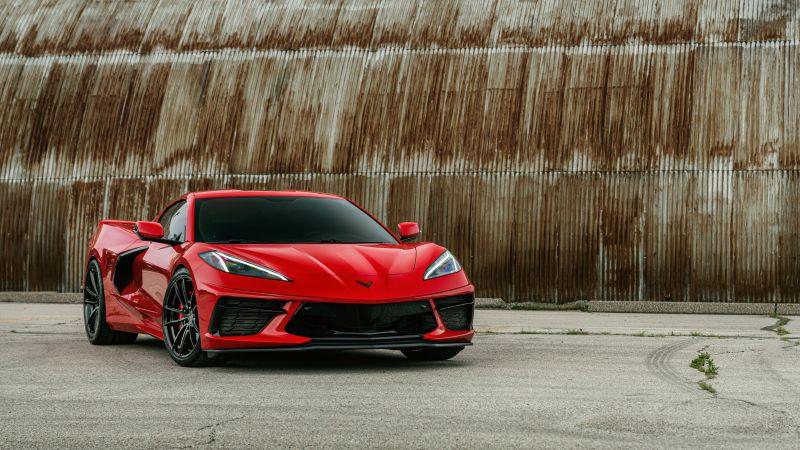 Chevrolet Corvette, Red cars, 5K, Wallpaper
