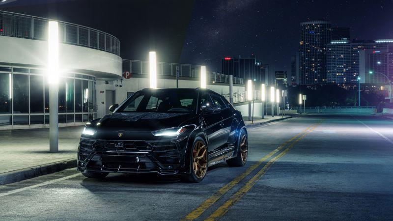 Lamborghini Urus, Black cars, Urban, 5K, 8K, Wallpaper