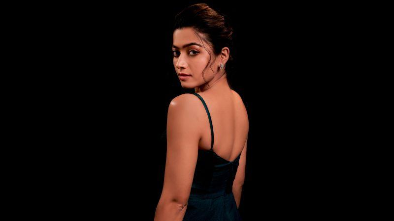 Rashmika Mandanna, Telugu Actress, Indian actress, Black background, 5K, 8K, Wallpaper