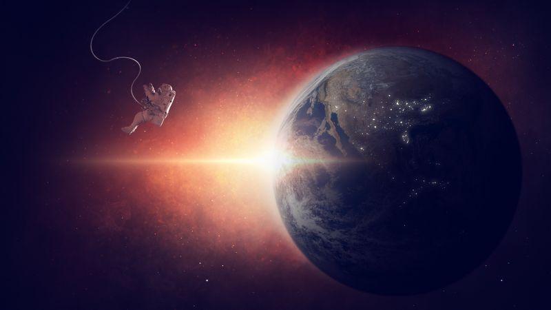 Earth, Planet, Universe, Space Travel, Space Adventure, Astronaut, Sun light, Red, Dark background, 5K, Wallpaper