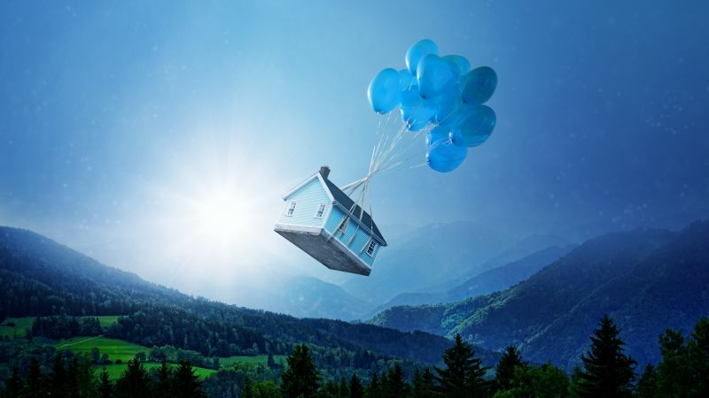 House, Green landscape, Balloons, Sky blue, Green Trees, Mystic, Sun light, 5K, Wallpaper
