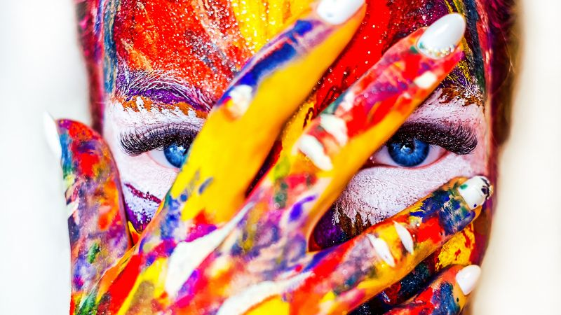Coloured Face, Girl, Multicolor, Colorful, Blue eyes, Paint, Creative, 5K, Wallpaper