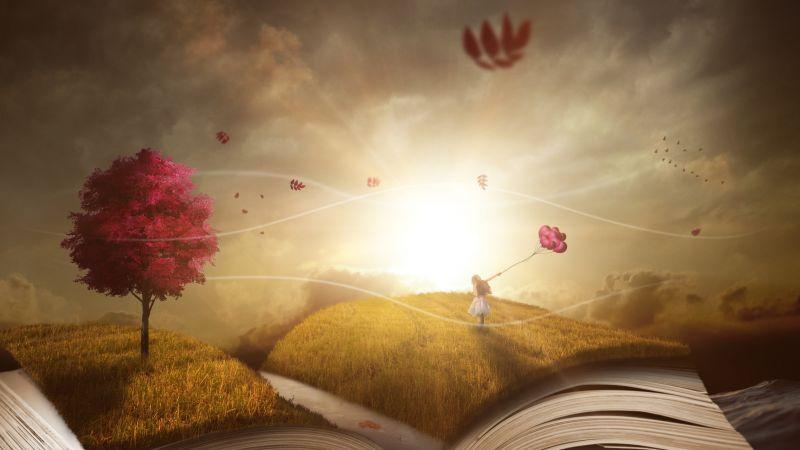 Book, Purple Tree, Autumn, Girl, Dream World, Sunlight, 5K, Wallpaper