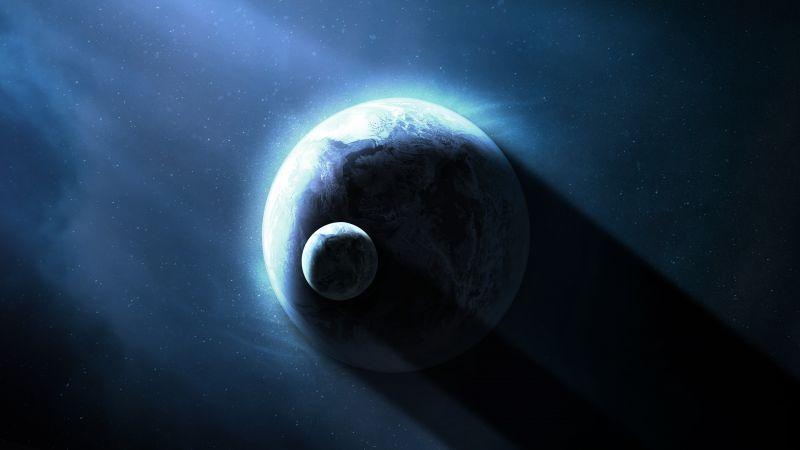 Earth, Planets, Stars, Shadow, Dark background, Sun light, Astronomy, Blue, Wallpaper