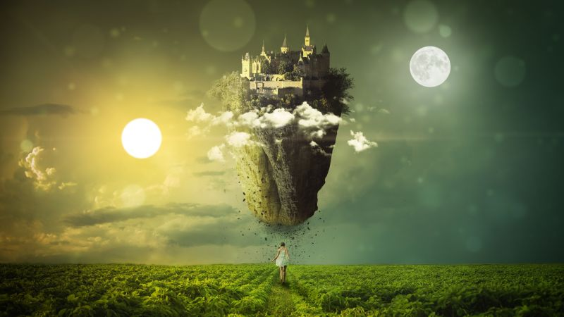 Sun, Moon, Girl, Clouds, Mystic, Green landscape, Dream, Castle, Sky view, 5K, Wallpaper