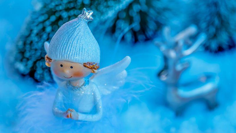 Blue Angel, Christmas decoration, Wings, Cap, Cute, Blue background, Wallpaper