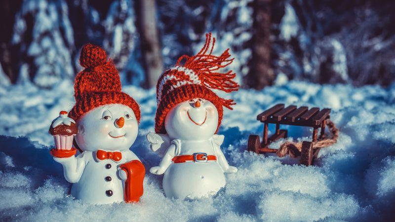 Snowman, Snow covered, Winter, Christmas decoration, Cute figure, 5K, Wallpaper
