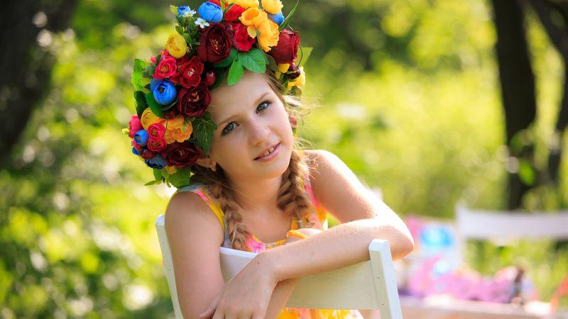 Smiling girl, Flower Wreath, Portrait, Green background, Cute Girl, Chair, Kid, Sunny day, 5K, Wallpaper