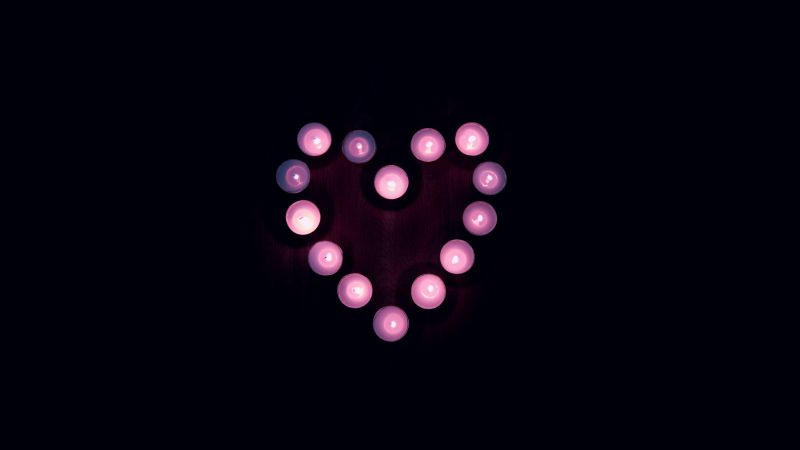 Love heart, Candle lights, Black background, Pink, Heart, Tea light, 5K, Wallpaper
