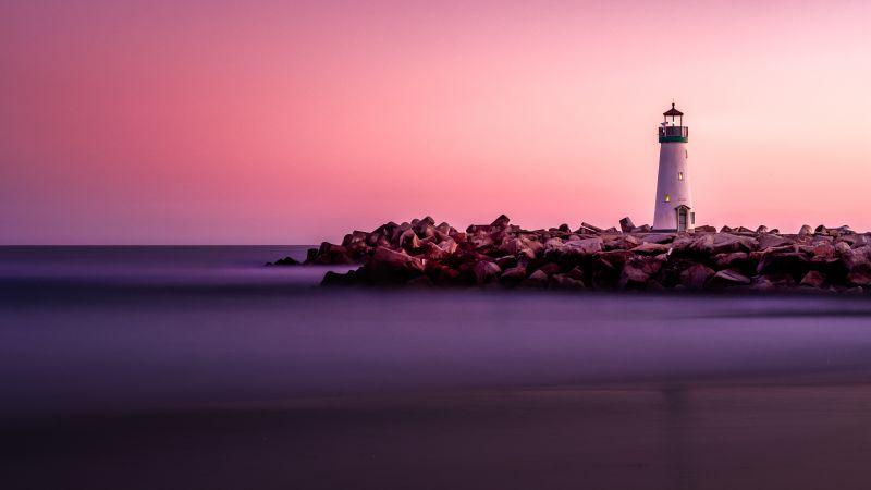 Lighthouse, Pink Hour, White, Beacon, Purple sky, Rocks, Seashore, Sunset, 5K, Wallpaper