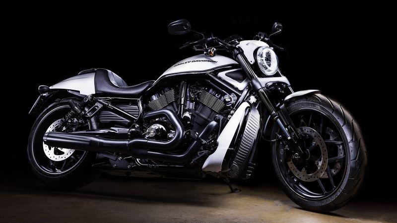 Harley-Davidson, Black background, Motorcycle, White, 5K, Wallpaper