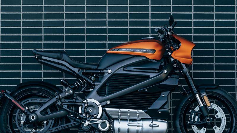 Harley-Davidson, LiveWire, Electric bikes, Orange Motorcycle, Wall, 5K, Wallpaper