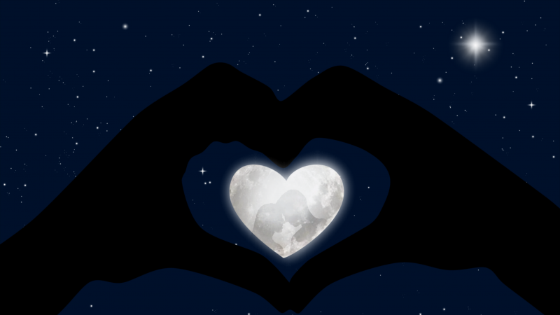 Heart, Stars, Blue background, Hands together, Couple, White heart, Moon, Silhouette, Wallpaper