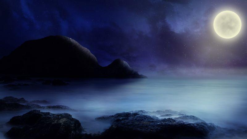 Full moon, Starry sky, Sea, Rocks, Night, Dark background, 5K, Wallpaper