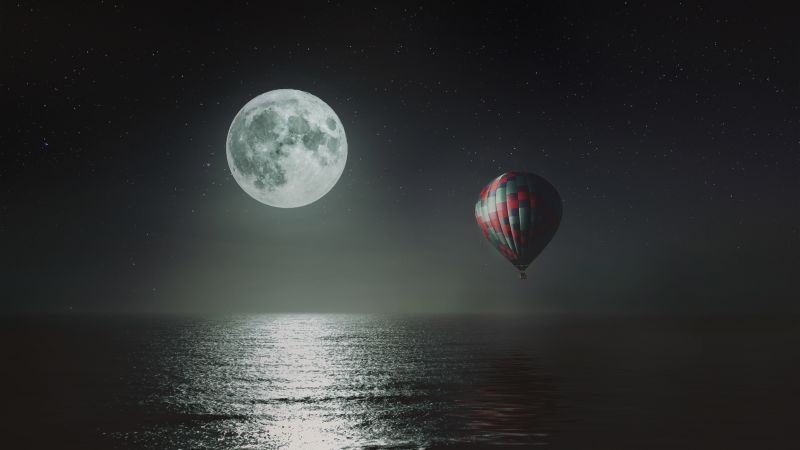 Hot air balloon, Night, Full moon, Dark background, Sea, Stars, 5K, 8K, Wallpaper