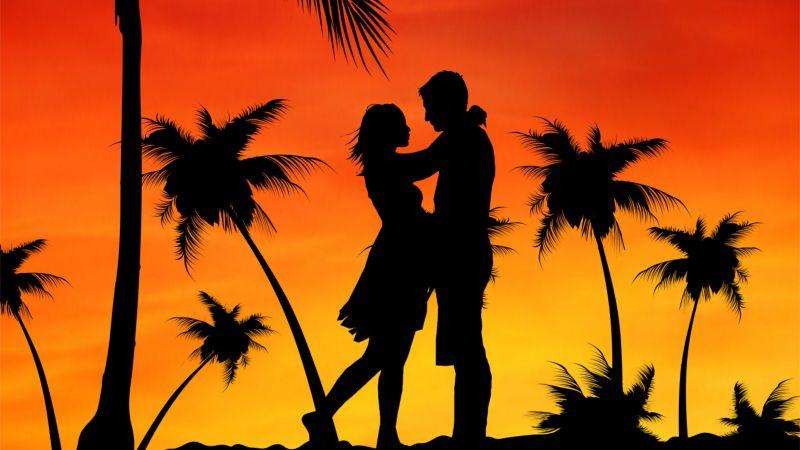Couple, Palm trees, Orange sky, Sunset, Silhouette, Romance, Aesthetic, 5K, Wallpaper