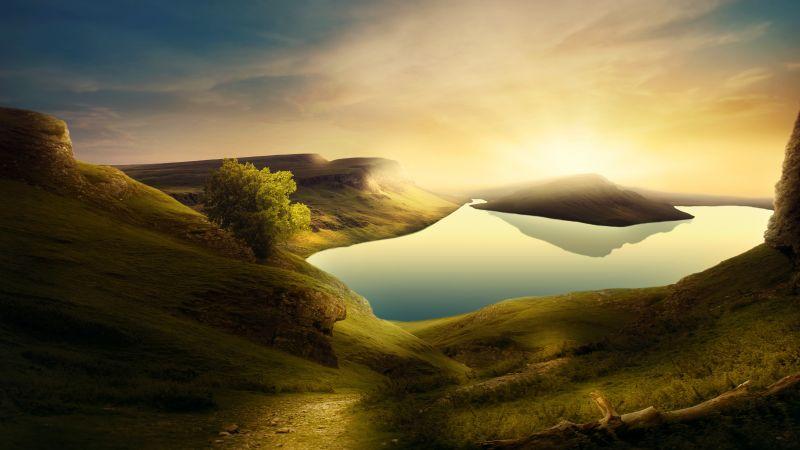 Landscape, Sunset, Mountains, Lake, Reflection, Clear sky, 5K, Wallpaper