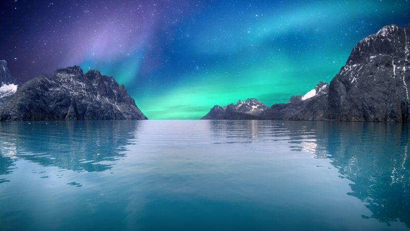 Northern Lights, Sea, Blue Sky, Stars, Reflection, Mountains, Glacier, Aurora Borealis, 5K, 8K, Wallpaper