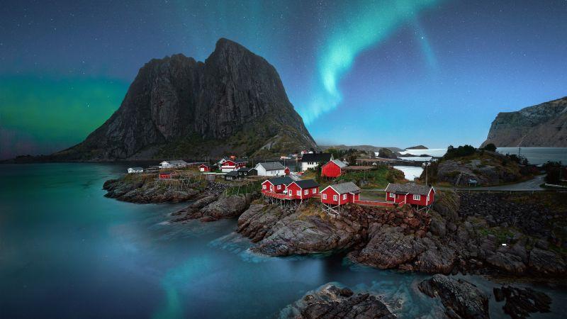 Lofoten islands, Aurora Borealis, Landscape, Night, Stars, Mountain, Blue Sky, 5K, 8K, Wallpaper