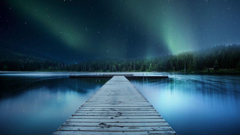 Jetty, Wooden pier, Lake, Aurora Borealis, Clear sky, Trees, Stars, Blue, 5K, 8K, Wallpaper