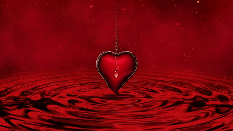 Red heart, Water, Red background, Stars, Waves, Chain, 5K, Wallpaper