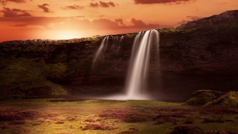 Waterfalls, Sunrise, Orange sky, Clouds, Grass Landscape, Rock, 5K, Wallpaper