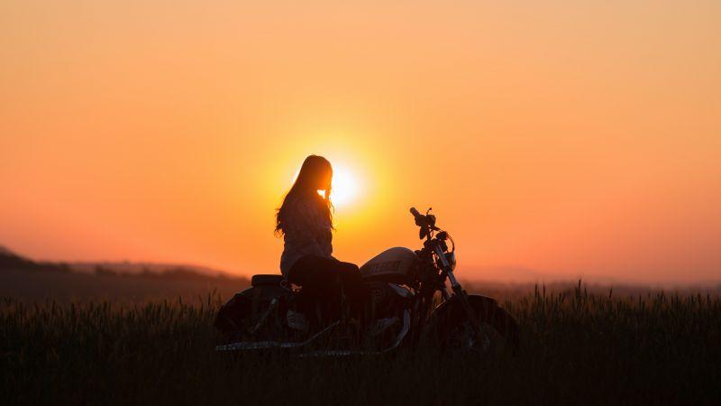 Sunset, Woman, Motorcycle, Silhouette, Golden hour, Orange, 5K, Wallpaper