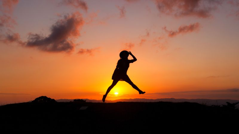Sunrise, Silhouette, Woman, Jumping, Girl, Clouds, Happy Mood, 5K, Wallpaper