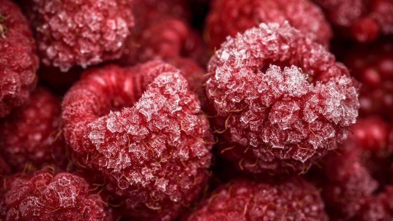 Frozen Raspberries, Red fruits, Closeup, Macro, Wallpaper