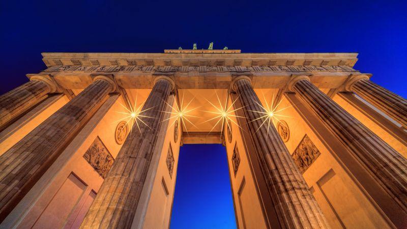Brandenburg Gate, Berlin, Germany, Low Angle Photography, Lights, Night, Blue Sky, Arch, Wallpaper