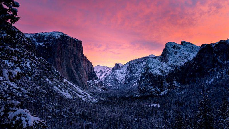 Yosemite National Park, Snow covered, Mountains, California, Purple sky, Valley, 5K, 8K, Wallpaper