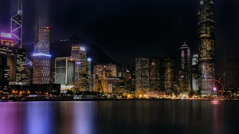 Hong Kong City, Cityscape, Architecture, Skyscrapers, Nightlife, Ferris wheel, Lights, River, Reflection, 5K, Wallpaper
