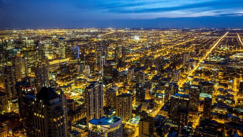 Chicago, Illinois, City Skyline, Night, Cityscape, Blue Sky, Night lights, Buildings, Skyscrapers, 5K, Wallpaper