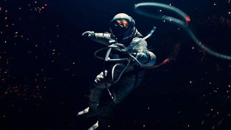 Astronaut, Space suit, Dark background, Lost in Space, Space Adventure, Wallpaper