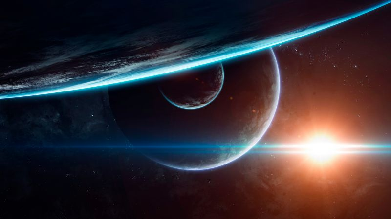 Planets, Cosmos, Sun, Astronomy, Horizon, Galaxy, Stars, Wallpaper