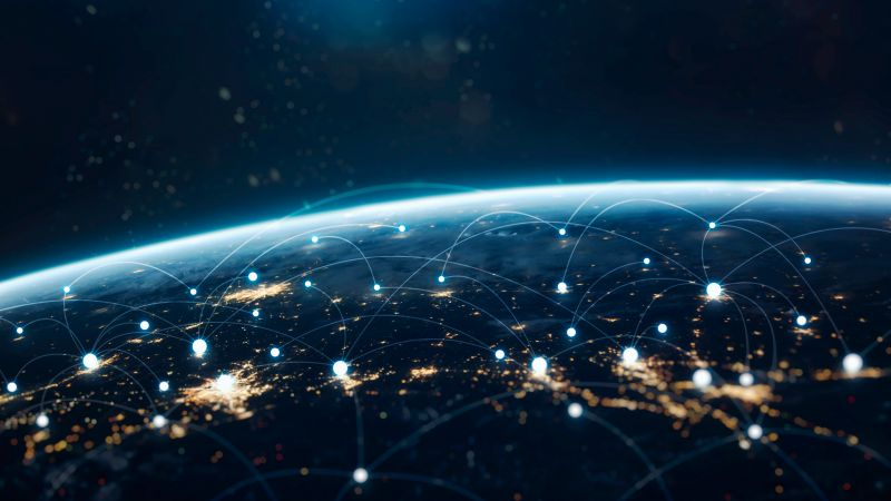 Network, Connections, Earth, Lights, Blue, Horizon, Wallpaper
