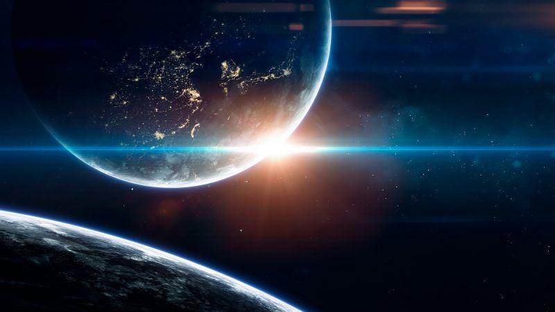 Earth, Sun, Planets, Stars, Galaxy, Blue, Wallpaper