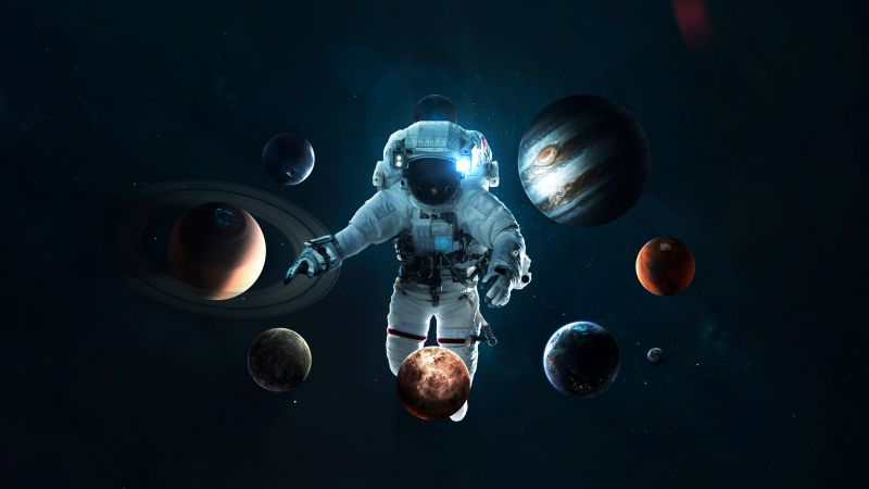 Astronaut, Planetary System, Space suit, Space Travel, Stars, Orbital ring, Solar system, Planets, Wallpaper