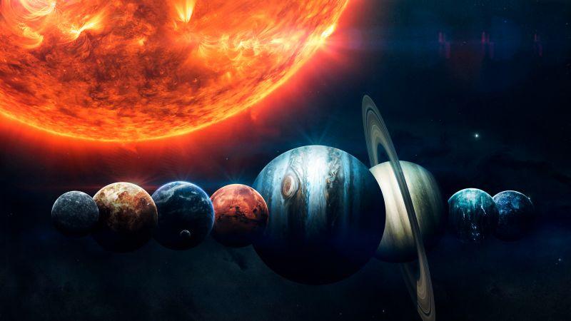 Solar System, Planets, Sun, Orange, Stars, Burning, Earth, Mars, Jupiter, Red planet, Wallpaper