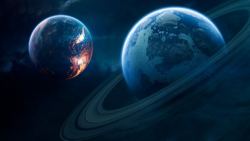 Blue Planet, Orbital ring, Red Planet, Stars, Galaxy, Wallpaper