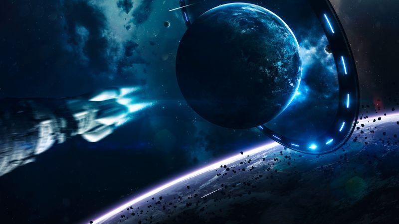 Earth, Blue planet, Gateway, Rocket, Stars, Asteroids, Purple light, Wallpaper