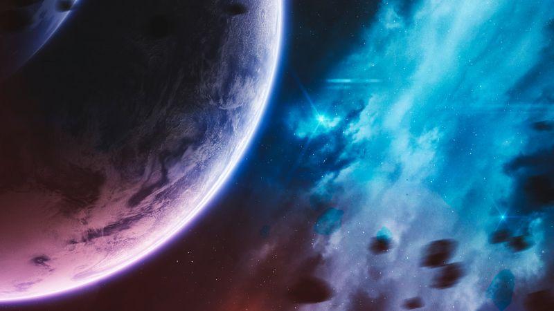 Purple Planet, Cosmos, Stars, Blue Galaxy, Asteroids, Wallpaper