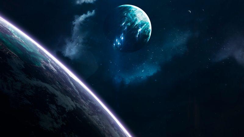 Planets, Earth, Blue, Galaxy, Universe, Stars, Wallpaper