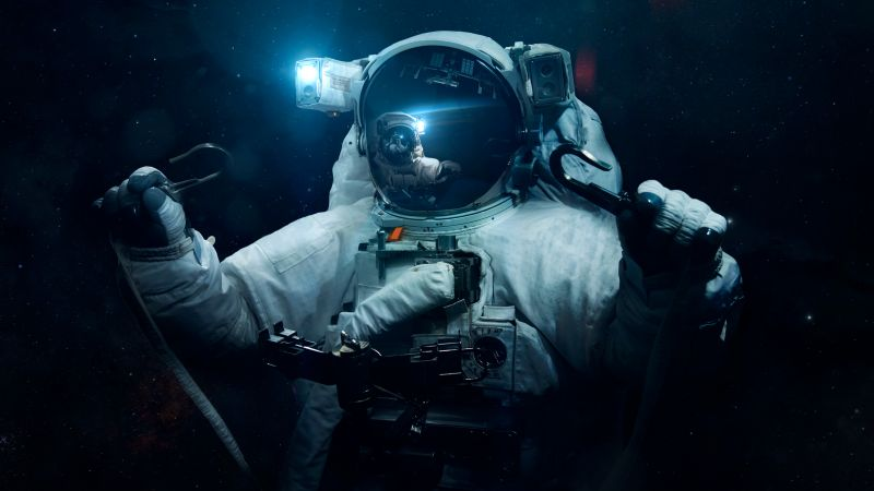 Astronaut, Space Travel, Space Adventure, Stars, Blue light, Dark background, Wallpaper