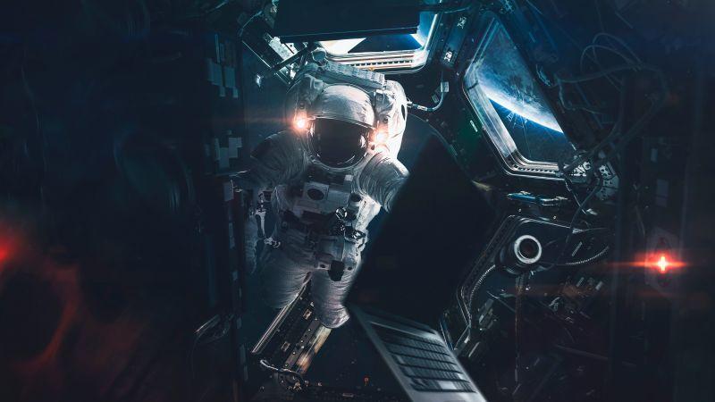 Astronaut, Space station, Laptop, Sci-Fi, Space suit, Lights, Wallpaper