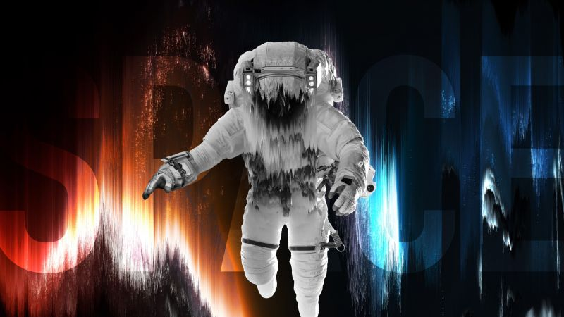 Astronaut, Fade, Space artwork, Blue, Red, Space suit, Wallpaper