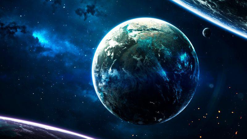 Earth, Cosmos, Stars, Blue, Planets, Purple, Galaxy, Wallpaper