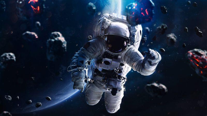 Astronaut, Asteroids, Blue planet, Space Travel, No Gravity, Wallpaper